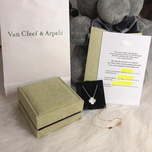 Van Cleef & Arpels 18k gold and white scallop necklace VCA